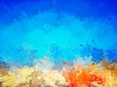 Mood 211 (Мaistora) Tags: painting painted impression impressionism pointilist fingerpainting fingerpainted touchscreen app abstract art artistic freeform imagine imagination beach sunny sea seaside seascape relax towel orange sand yellow golden blue turquoise aqua teal marine indigo sky water ocean horizon