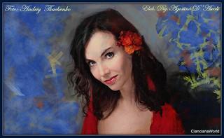 Donna con camicia rossa