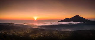 Sunrise on Mount Agung and Lake Batur, Bali, Indonesia