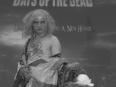 #JameGumb @ #DaysOfTheDead #Scary! (kennethkonica) Tags: daysofthedead costumes horrorconvention horror people persons canonpowershot canon global random hoosier color midwest usa america indiana indianapolis indy moods thatdamntattoocontest blackwhite jamegumb crossdresser wig bestshotoftheday face shirtless tattoo tatt silenceofthelambs drag