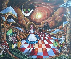 A L I C E (tomas491) Tags: alice wonderland cat rabbit watch late te castle book muchrooms sun bridge clouds chess tree hat painting acrylic canvas shadows 1 grass fantasypaintings hurry tunnel sunrays hatter tomasljunggren umbrella
