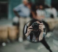 Ciao... (jess feldon photography) Tags: girl tattoo 50mm jessfeldon people street streetphotography reflections mirror selfportrait selfie vespa naples italy