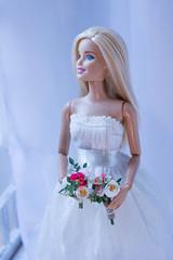 2 wedding bouquets for Barbie (kinmegami) Tags: barbie madetomovebarbie miniatureflowers miniature bride bouquet rose peonies carnations