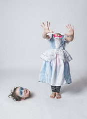 Luna Day 1376 (evaxebra) Tags: luna decapitate decapitated cinderella princess facepaint makeup head headless photoshop white