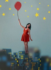 396 🌃🎈 (Katrina Yu) Tags: self portrait conceptual creative concept levitation woman red cityscape emoji surreal surrealphotography artsy art artistic balloon
