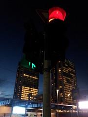 Lights in the sky in a Milan night (paolocammarata) Tags: milan milano luci lights notte nights semaforo grattacielo skycrapers città city town via street strada cielo sky