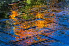 water on fire ... (mariola aga) Tags: chicagobotanicgarden glencoe summer garden fountain pavement water flower gladiola peach reflection ripples abstract art thegalaxy artofimages bestcapturesaoi