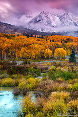 A Fall Snow At Sunrise (rosacruzjl) Tags: eastbeckwith aspen colorado crestedbutte fall keblerpass rockies rockymountains westelkmountains autumn blanket city cloud color colorful foliage forest gold green light mountain orange peak pink place pond red sky snow sunlight tarn texture town tree weather yellow