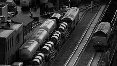 Trains at Dusk passing Welders Quay Docks. (ManOfYorkshire) Tags: weldersquay docks railway modern scale model trains 176 oogauge layout exhibit exhibition display working class60 class37 coal steel bw blackwhite