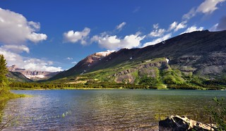 A Lakeside View to Mountains in Glacier National Park