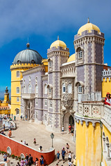 Pena Palace - Main entrance (Luca Quadrio) Tags: ancient color historic monument magical panorama pena portugal summer national attraction lisboa museum architecture yellow traditional view castle building lisbon sintra old landmark tourist unesco cityscape tourism tower entrance world culture famous blue historical fortress beautiful travel portuguese sky history heritage moorish palace europe european colorful