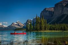 The Red Canoe (jenni 101) Tags: alberta canada canadianrockies jaspernationalpark rockies spiritisland mountains redcanoe