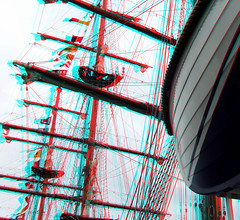 BAP UNION - Sailing vessel 3D (wim hoppenbrouwers) Tags: anaglyph stereo redcyan wilhelminapier rotterdam bap union sailing vessel 3d