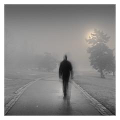 A Strange Day (Vesa Pihanurmi) Tags: road man figure character movement longexposure metaphysical metaphysics fog mist helsinki ullanlinnanmäki streetphotography