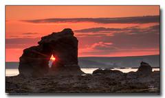 Thurlestone-Rock-Sunset (jeremy willcocks) Tags: thurlestonerock rock beach southmiltonsands sunset clouds sky burghisland southhams devon uk landscape seascape colour jeremywillcocks wwwsouthwestscenesmeuk nikond300 sigma18200mm