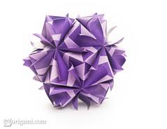 Origami Sonobe (Maria Sinayskaya) Tags: dcckoma dcckomapurplelightpurple folded kamipaperduocolorcolor koma kusudama mariasinayskaya modularorigami origami origamisonobe purplelightpurple square мариясинайская