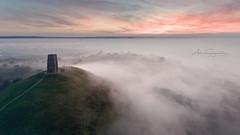 """ Mists Of Avalon "" (artursomerset) Tags: aerial dji phantom4 somerset avalon glastonburytor mist fog sunrise twilight landscape morning colours sky"