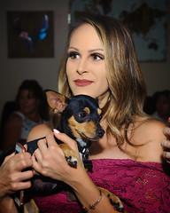 Gina and Larry (greyhound rick) Tags: girl woman dog minpin girlanddog womananddog friends party chandler arizona chandlerarizona nikon sb800 2470lens