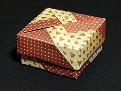 Schachtel im Retro Design auf marmoriertem Papier (musitine) Tags: origami box schachtel