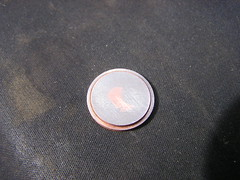 Euro 1c Coin for Metal Insert idea - dished coin means Copper needs lot of filing - 30-09-2017 (Lord Inquisitor) Tags: euro coin 1c cent steel copper reflection grind file black shiney grey blacksmith