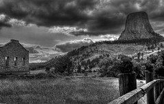 Devils Tower (Tim @ Photovisions) Tags: wyoming monochrome devilstower blackandwhite landscape sky clouds