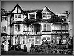 THE SWAN AT WESTGATE (Jason 87030) Tags: theswan bird pub inn boozer building architecture westgateonsea kent southeast bw bbw blackandwhite blanc noir black white framed border bench thanet pint beer ale glass unitedkingdom tones view sony alpha a6000 ilce nex lens tag weather news facebook april 2017 holiday break timber windows ornate cool greatbritain menu food grub