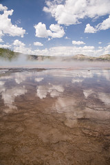Grand Prismatic Spring, Midway Geyser, Yellowstone NP (pdx_photoman) Tags: nationalpark yellowstone national park beauty geyser outdoors water calcium deposits feature flow flowing geological geology geothermal hiking hot mineral mound parks seep springs steam steaming thermal volcanic volcano warm wyoming