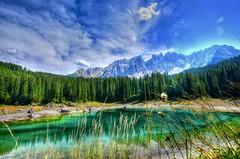 Carezza (giannipiras555) Tags: lago verde alberi panorama landscape natura montagne dolomiti cielo nuvole trentino italia