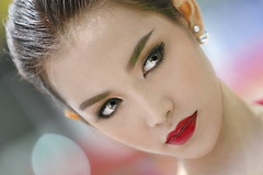 A touch of strawberry 2 (N808PV) Tags: 6d lips red kiss strawberry girl eyes face portrait