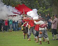 _1060288_edited-1 (ksztanko) Tags: theenglishcivilwarsociety reenactors waltonhall rifles smoke