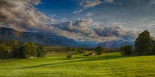 European Alps before sunset