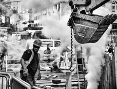 New York Construction worker (m@rk Williams) Tags: new york black white men work construction blackandwhite steam