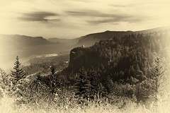 An Antique Portrait of the Columbia River Gorge (Black & White) (thor_mark ) Tags: nikond800e day8 capturenx2edited colorefexpro triptomountrainierandcolumbiarivergorge columbiarivergorge columbiarivergorgenationalscenicarea columbiariverhwy usroute30 historiccolumbiariverhighway historiccolumbiariverhighwayscenicbyway silverefexpro2 blackwhite project365 nature nationalscenicarea hillside hillsideoftrees trees blueskieswithclouds angelsrest mounthoodarea oregoncascades cascaderange pacificranges chanticleerpoint overlook columbiariver river lookingtovistahouse vistahouseoffindistance lookingtocrownpoint crownpointoffindistance portlandwomensforumstate sandisland lookingeast or unitedstates