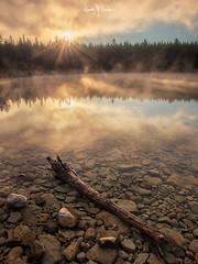 Canada 2017 #14 (Ramón Menéndez Covelo) Tags: canada rockies rocky mountains patricia lake jasper national park landscape vertical sun sunrise fog foggy sunstar reflection