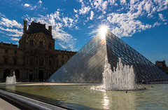 Above the Translucid Pyramid - Le Louvre Museum Paris (Cloudwhisperer67) Tags: france translucid water splendid view august 2017 clouds white louvre pyramid paris museum le musée art beautiful arts lelouvre beauty cloudwhisperer67 canon light 760d pyramide cour napoléon napoleon explore artistic architecture urban city day monument fantastic amazing blue by photography cityscape town travel trip world photo europe europa