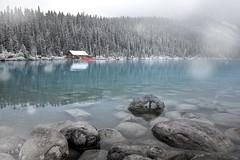 Lake Louise, first snowfall (Modifeye) Tags: modifeye lake louise alberta reflection winter fall summer beautiful nature landscape earth rocks boathouse travel explore amazing inspiring awesome banff canada canon 5dsr