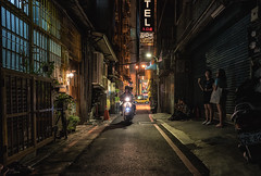 Alley traffic, Taipei (urbanexpl0rer) Tags: taipei taiwan asia streetphotography streetshot alley people motorcycle nightphotography colorful streetlife travelphotography