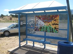 2017 Seed Banner Installation in Questa, Cerro and Lama (LEAP (Land, Experience Art of Place)) Tags: leap questa seeds banners busstop bluebus altavista