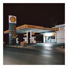 011_11 (jimbonzo079) Tags: oropos attiki greece hellas color topography vintage 2016 art street shell out gas station petrol colour night road ελλαδα ελλασ ωρωποσ αττικη greek film negative analog gr new kodak portra 160 portra160 newportra160 kodakportra160 newkodakportra160 rolleicord landscape geometry nobody old light outdoor carl zeiss triotar f35 75mm medium format 120 6x6 square industry dark summer