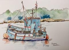 """Souvenir Breton"" (alainhonoratlefebvre dit "" ALHO "") Tags: bretagne bateau aquarelle dessin"