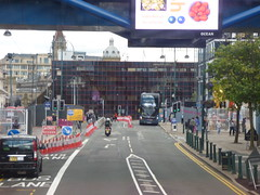 Roadworks on Broad Street for the Midland Metro Extension towards Five Ways (ell brown) Tags: broadst birmingham westmidlands england unitedkingdom greatbritain roadworks midlandmetroextensiontofiveways buildingsite constructionsite bus 127 nxwm nationalexpresswestmidlands tree trees centenarysquare buses trafficlight trafficlights linkbridge hyatthotel symphonyhall theicc billboard electronicbillboard ocean 126 nationalexpresswestmidlandsplatinum