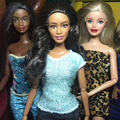 OOAK dolls. Eyebrows-pazette, barbie -closed lips and lip color, and nichelle - lips. Learning how to repaint. It's a bit hard but I'm enjoying it! (modollville) Tags: 2016 wishes birthday ooak nichelle pazette barbie