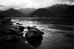When the night comes (stefankamert) Tags: stefankamert night evening landscape mountain lake sea water hills dark blackandwhite blackwhite noir noiretblanc stone dof blur sony rx1 rx1r sonyrx1r fullframe mirrorless