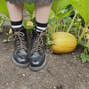 Stomp (obsequies) Tags: garden gardening gardener kitchengarden pumpkinpatch pumpkin life whimsy whimsical cottagegarden homestead food green grow flowers sunflower gourd squash halloween goth grunge fashion diy boots autumn fall canada manitoba leaves messyhair boho hippie weirdo magic dirtylaundry combatboots ugly