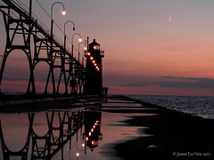 Pure Michigan! (JamesEyeViewPhotography) Tags: south haven lighthouse lake michigan moon sunset reflections summer beach northernmichigan water jameseyeviewphotography