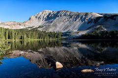 Mount Audubon reflected on Mitchel Lake