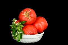 DSC_9421_3741. Pomodori e basilico. (angelo appoloni) Tags: natura morta pomodori maturi basilico fiore still life ripe tomatoes basil bloom