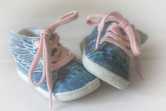 Winging it... (judi may) Tags: shoes wings babyshoes pinklaces blueshoes soft softness iwanttheseshoes canon7d 50mm dof depthoffield littleshoes tiny