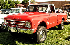 Sweet '67 Chevy 4X4 (Eyellgeteven) Tags: chevrolet chevy chev gm generalmotors generalmotorscorporation pickup pickuptruck truck 4x4 fourwheeldrive red shiny cherry 1967 1960s shortbed showtruck lifted bigtires thrush thrushmufflers decoration decal sticker bumpersticker k10 12ton 327 327v8 v8 classic vintage vehicle survivor americanmade madeinusa eyellgeteven carshow old