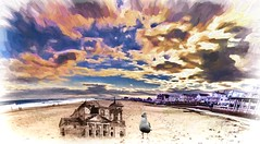The Last Sand Castle (Rusty Russ) Tags: sandcastle hampton beach nh wind time bird sky cloud colorful day digital graffiti window flickr country bright happy colour eos scenic america world sunset water red nature blue white tree green art light sun park landscape summer city yellow people old new photoshop google bing yahoo stumbleupon getty national geographic creative composite manipulation hue pinterest blog twitter comons wiki pixel artistic topaz filter on1 image